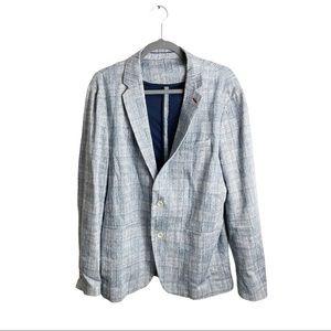 Zara Men's Plaid Blazer Jacket Blue Size 44